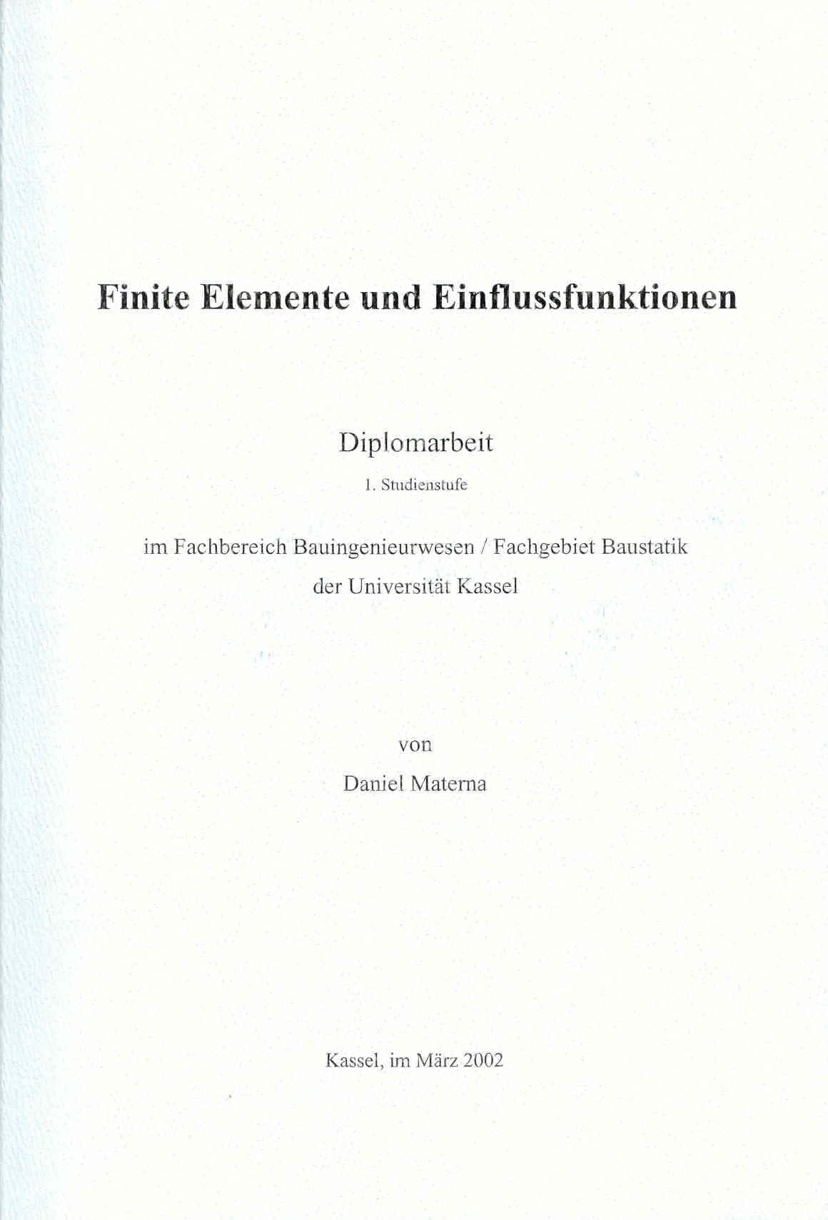 Winfem literatur for Finite elemente berechnung